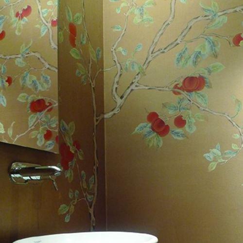 papel pintado oriental / de seda / con motivos florales / chinoiserie