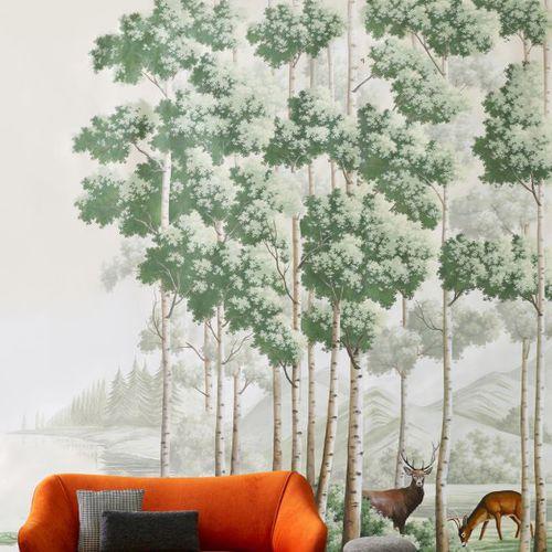 Papeles pintados clásicos / de seda / chinoiserie / hechos a mano THE AMBER ROUTE Misha handmadewallpaper