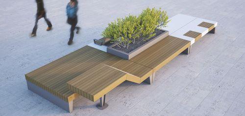 banco público / de diseño original / de madera / de acero