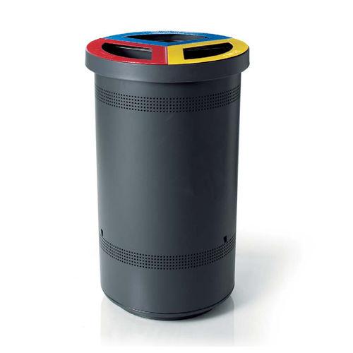 cubo de basura público / de acero galvanizado / moderno / de reciclaje