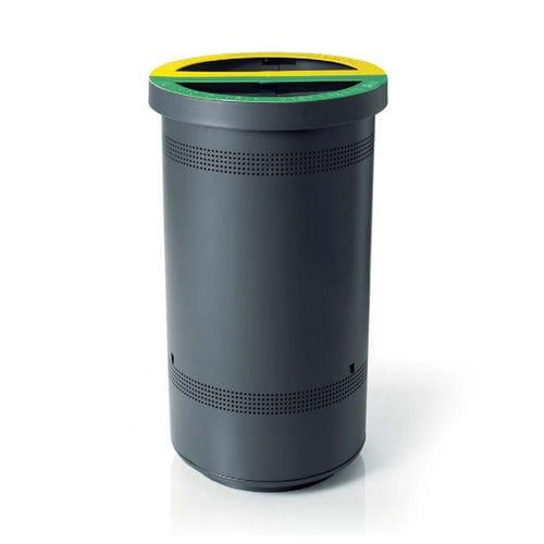cubo de basura público / de acero galvanizado / de reciclaje / con cenicero integrado