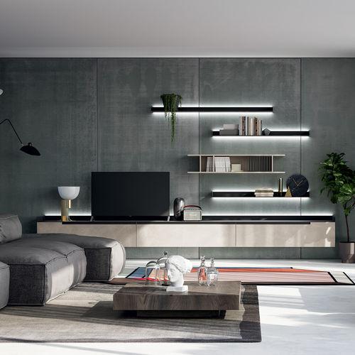 mueble TV moderno / de madera lacada satinada / de madera lacada mate / de metal pintado