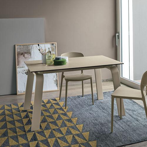 Mesa de comedor moderna / de MDF / de vidrio templado / de metal pintado DEIMOS 130 Target Point New