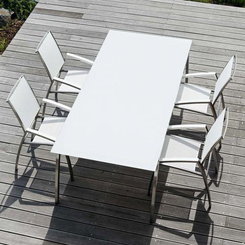 silla moderna / con reposabrazos / tapizada / de acero inoxidable