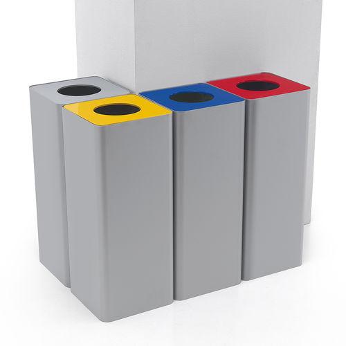 cubo de basura público / de acero con revestimiento en polvo / para el sector servicios / de reciclaje