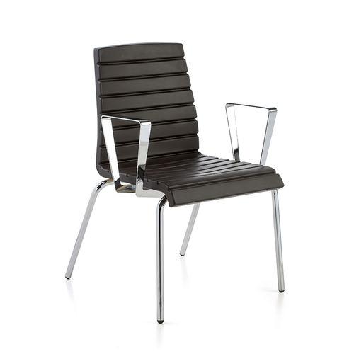 silla de visita moderna / con reposabrazos / tapizada / patín