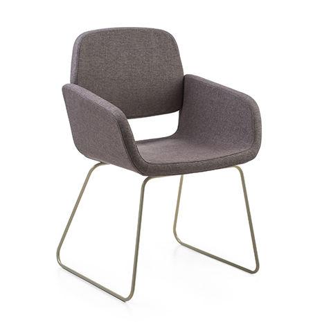 silla de visita moderna / tapizada / con reposabrazos / cantilever