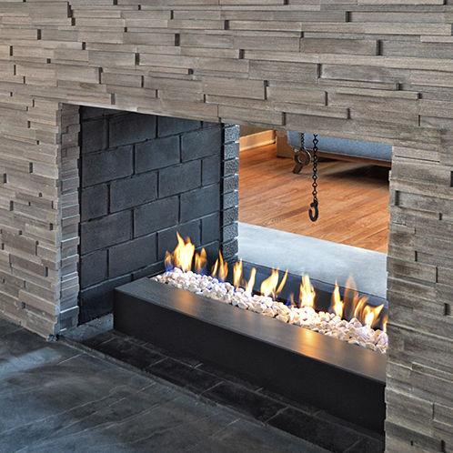chimenea de gas natural / moderna / hogar abierto / de doble cara