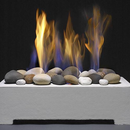 chimenea de gas natural / moderna / hogar abierto / de libre instalación