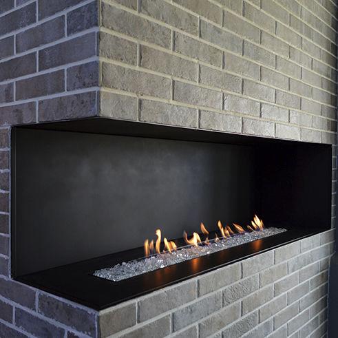 chimenea de gas natural / moderna / hogar abierto / de esquina