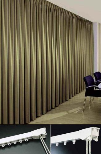 riel para cortina accionado mediante cordones / con fijación mural / para cortinas fruncidas / profesional