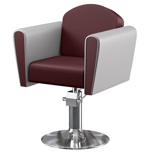 sillón de peluquería de metal / de cuero / giratorio / con base central