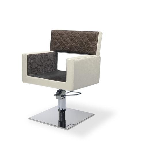 sillón de peluquería de cuero / de metal / giratorio / con base central