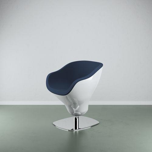 sillón de peluquería de acero / de fibra de vidrio / con base central / giratorio