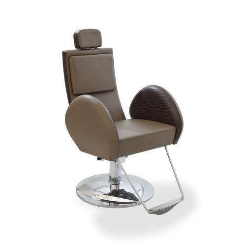 sillón de peluquería de acero / con reposacabezas / con reposapiés / con patas en forma de estrella