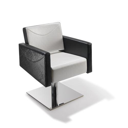sillón de peluquería de madera / de poliuretano / con base central