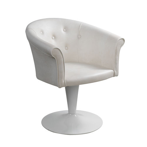 sillón de peluquería de cuero artificial / con base central