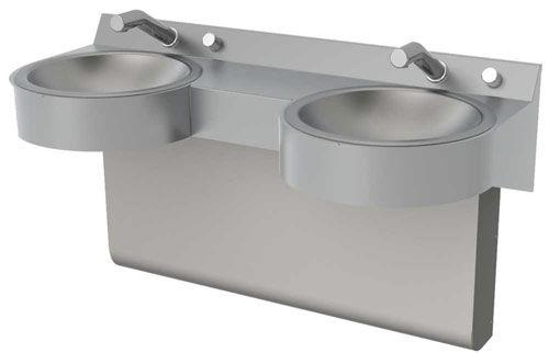 encimera de lavabo doble / acero inoxidable / de uso profesional