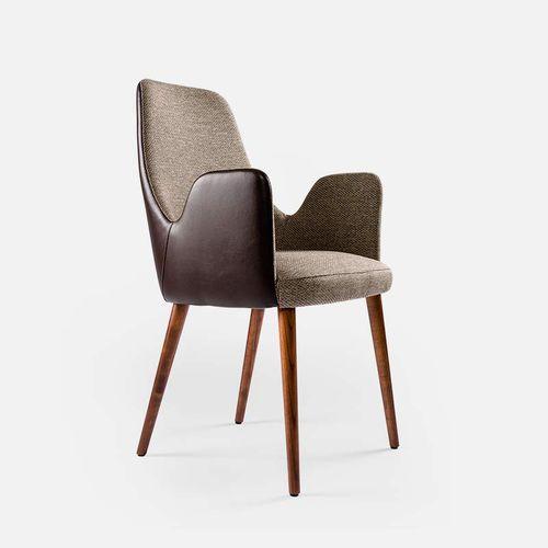 silla moderna / tapizada / con reposabrazos / de tejido