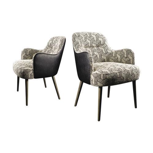 sillón moderno / de tejido / de cuero / de fresno