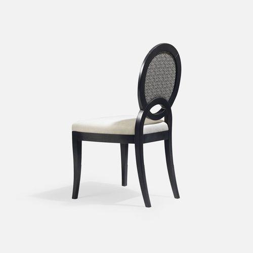 silla clásica / tapizada / medallón / de tejido