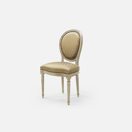silla de estilo Luis XVI / tapizada / con reposabrazos / medallón