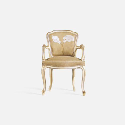 silla de restaurante Luis XV / tapizada / con reposabrazos / de tejido