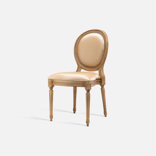 silla de estilo Luis XVI / apilable / tapizada / con reposabrazos