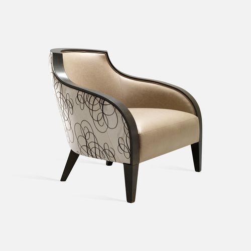 sillón moderno / de haya / de tejido / de cuero