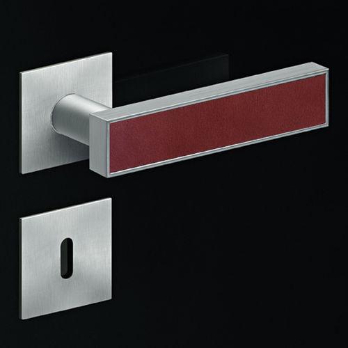 manilla de puerta / de acero inoxidable / moderna / con incrustaciones