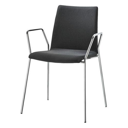 silla de visita moderna / tapizada / con reposabrazos / apilable
