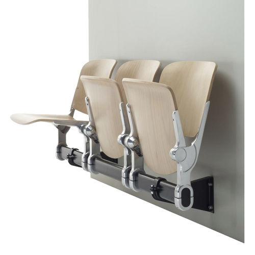 hilera de sillas de madera / 3 plazas / de interior
