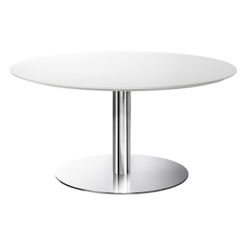 mesa bistró moderna / de acero cromado / de metal cromado / redonda