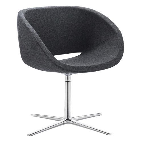 sillón de visita moderno / de tejido / giratorio / con patas en forma de estrella
