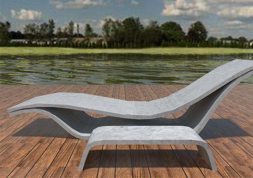 Conjunto de mesa y silla moderno / de hormigón / de interior / de exterior FLOW: CHAISE TABLE by João Seco Amop Synergies