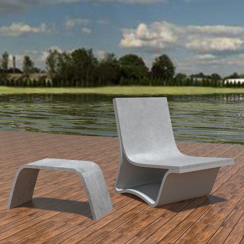 Conjunto de mesa y banco moderno / de hormigón de alto rendimiento / de jardín / de exterior FLOW: LOUNGE TABLE by João Seco Amop Synergies
