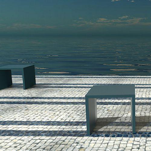 Banco público / de diseño minimalista / de hormigón de alto rendimiento / alto R-LIGHT: Individual Bench by Rafael Fernandes Amop Synergies