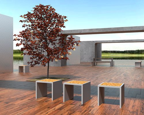 Conjunto de mesa y banco moderno / de diseño original / de hormigón de alto rendimiento / de exterior R-LIGHT:Individual Bench with Finish by Rafael Fernandes Amop Synergies