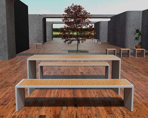 Mesa moderna / de hormigón reforzado con fibra / rectangular / para edificio público R-LIGHT: Table with Finish by Rafael Fernandes Amop Synergies
