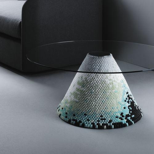 mesa de centro moderna / de vidrio / de acero / redonda