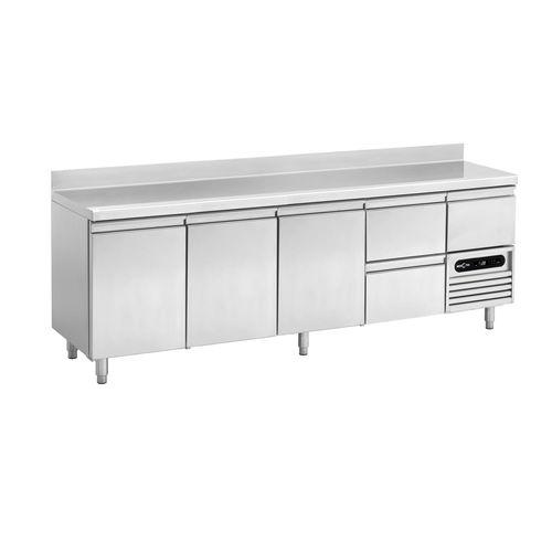 mesa de preparación de acero inoxidable / refrigerada / con altura regulable