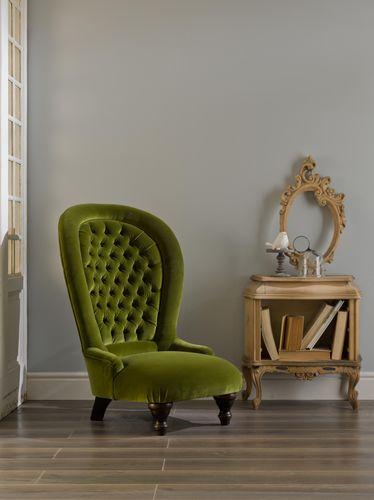 sillón clásico / de terciopelo / con respaldo alto / verde