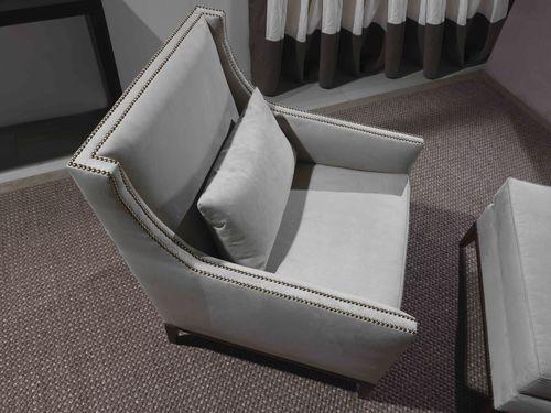 sillón moderno / de cuero / gris