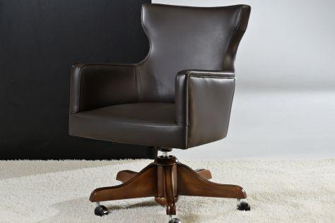 Sillón de oficina moderno / de cuero / giratorio / con patas en forma de estrella VALENCIA : PHILADELPHIA Divani Santambrogio