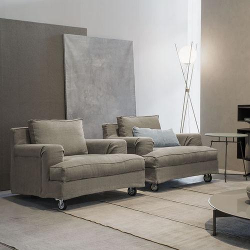 sillón moderno / de tejido / con ruedas