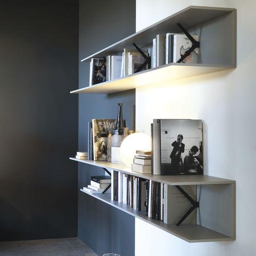 estantería mural / moderna / de roble / de aluminio