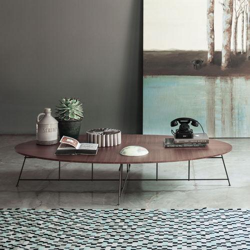 mesa de centro moderna / de madera / de acero / de madera lacada mate