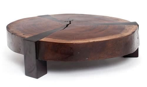mesa de centro moderna de madera redonda de interior bolacha star rotsen furniture