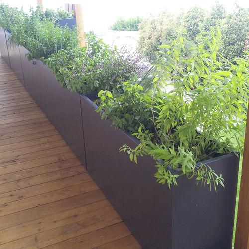 jardinera de fibrocemento / rectangular / a medida / con ruedas
