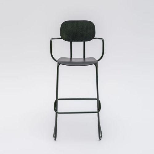 silla de bar moderna / con reposapiés / con reposabrazos / patín